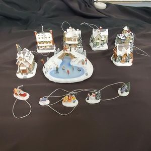 Thomas Kinkade Village Christmas Tree ornament lot